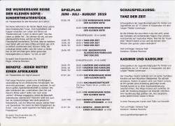 Spielplan Sommer, Herbst 2019